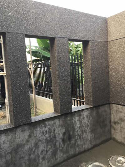 高雄林園區黃大姊 牌樓抿石工程-抿石子及洗石子