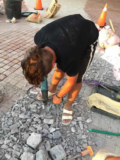 屏東飯店墾丁H會館 麵包磚鋪貼-舊屋翻新