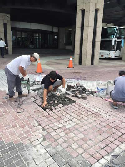 屏東飯店民宿墾丁H會館 麵包磚鋪貼-抿石子及洗石子