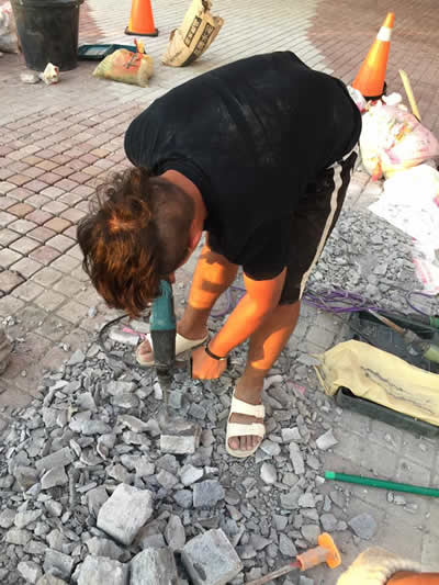 屏東飯店墾丁H會館 麵包磚鋪貼